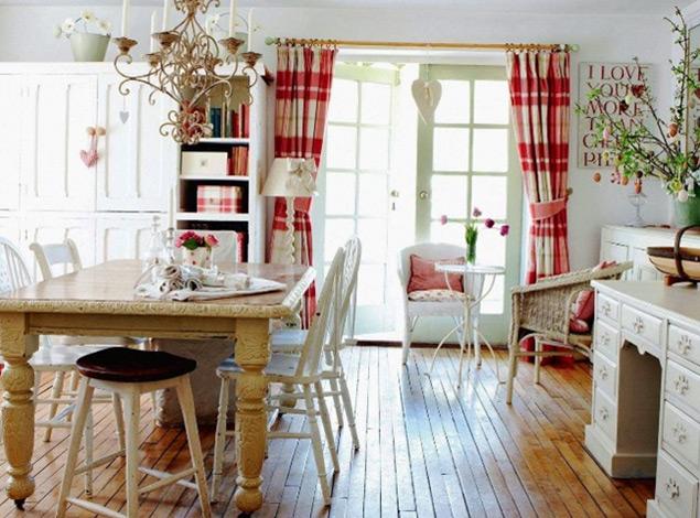 Дизайн и пошив штор в стиле Кантри