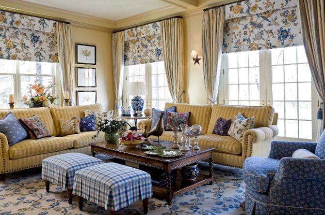 Текстиль и шторы в стиле Кантри в гостиную