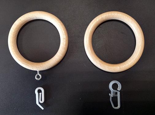 Деревянное кольцо с металлическим ушком и обычное деревянное кольцо для круглого карниза